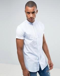 Синяя облегающая рубашка с воротником с застежкой на пуговицах SikSilk - Синий