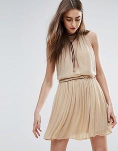 Телесное платье мини с отделкой Raga Be Mine - Бежевый