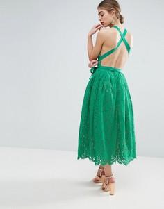 Кружевное платье миди для выпускного с пышной юбкой и открытой спиной ASOS SALON - Зеленый