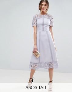 Платье-премиум миди с кружевными вставками ASOS TALL - Фиолетовый