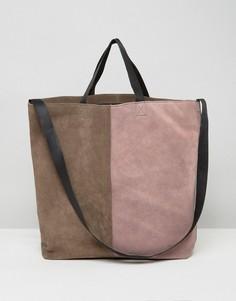 Замшевая сумка с кожаными ручками ASOS - Мульти
