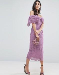 Облегающее платье-футляр миди с открытыми плечами ASOS - Фиолетовый