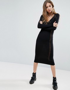 Вязаное платье со спущенными петлями ASOS - Черный
