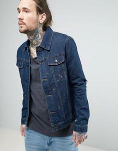 Джинсовая куртка с золотистой краской Always Rare - Темно-синий