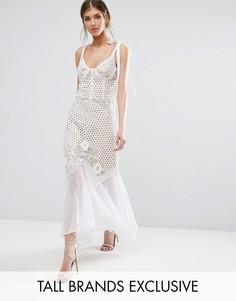 Ажурное платье на бретелях с шифоновым подолом Jarlo Tall - Белый