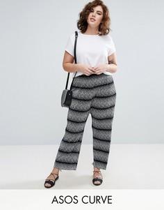 Широкие брюки плиссе в полоску ASOS CURVE - Мульти