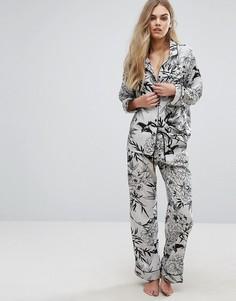Атласные пижамные брюки с принтом Glamorous - Зеленый