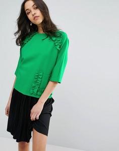 Топ с короткими рукавами, оборками и карманом Lost Ink - Зеленый