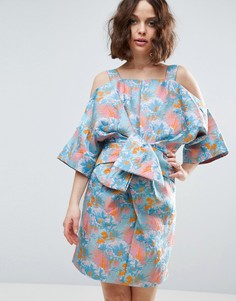 Жаккардовое платье-кимоно мини с тропическим узором и бантом ASOS SALON - Мульти