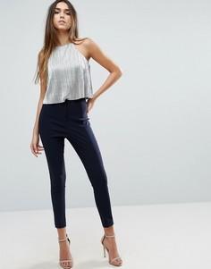Облегающие брюки с завышенной талией ASOS - Темно-синий