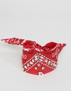 Чокер-браслет из банданы со стразами ASOS - Красный