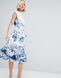 Чайное платье миди с синим принтом и хлопковой вставкой ASOS - Мульти