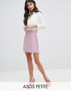 Мини юбка-трапеция с фактурной отделкой по краю ASOS PETITE - Фиолетовый
