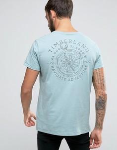 Светло-голубая футболка классического кроя с принтом компаса и логотипом на спине Timberland - Синий
