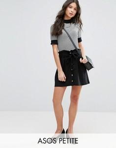 Льняная мини-юбка на пуговицах ASOS PETITE - Черный