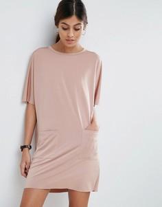 Платье-футболка с карманами ASOS - Розовый