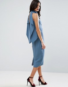 Платье-футляр миди с каскадом на спине и высоким воротником ASOS - Синий