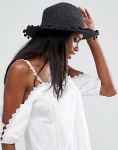 Шляпа с отделкой помпонами по краю ASOS - Черный