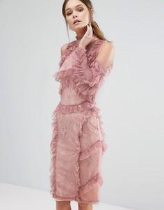 Кружевное платье миди с оборками True Decadence - Фиолетовый