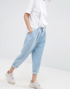 Выбеленные светло-голубые джинсы с поясом на шнурке ASOS WHITE - Синий