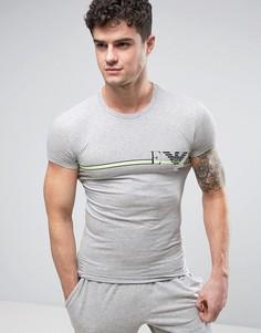 Облегающая футболка с логотипом и круглым вырезом Emporio Armani - Серый