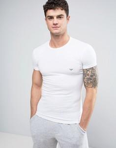 Облегающая футболка с логотипом и круглым вырезом Emporio Armani - Белый