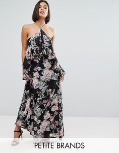 Платье макси с оборками и цветочным принтом Boohoo Petite - Черный