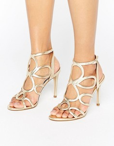 Золотистые кожаные босоножки на каблуке Carvela Gabby - Золотой
