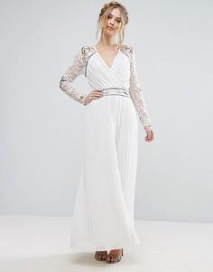 Платье макси с запахом и отделкой на рукавах Frock & Frill - Белый
