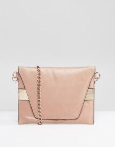 Кожаная сумка через плечо с ремешком цвета розового золота Urbancode - Розовый