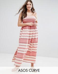 Платье макси в полоску со сборками и помпонами ASOS CURVE - Мульти