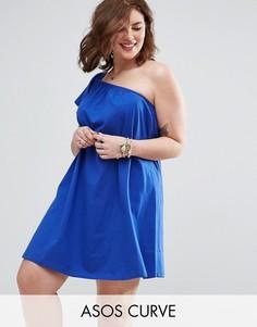Свободное платье мини на одно плечо ASOS CURVE - Синий