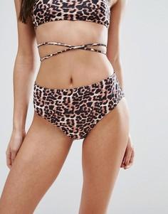 Плавки бикини с леопардовым принтом и высокой талией Boohoo - Мульти