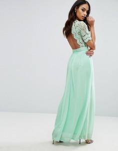 Платье макси с ажурным верхом Club L - Зеленый
