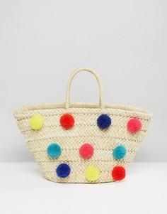 Соломенная пляжная сумка с помпонами Glamorous - Мульти