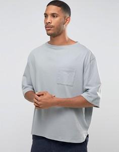 Oversize-футболка с широкими рукавами 3/4 и вырезом лодочкой ASOS - Зеленый