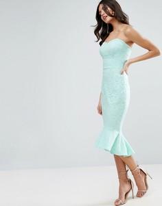 Кружевное платье-бандо миди с баской ASOS - Зеленый