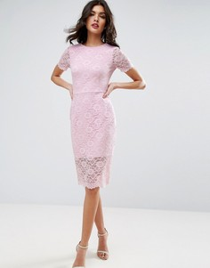 Облегающее платье миди с кружевом с фигурным краем ASOS - Розовый