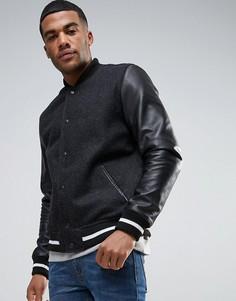 Черная полушерстяная университетская куртка с кожаными рукавами ASOS - Черный
