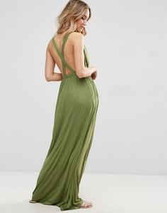 Трикотажное пляжное платье макси с перекрестом на спине ASOS - Зеленый