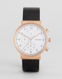 Часы-хронограф с черным кожаным ремешком Skagen SKW6371 Ancher - Черный