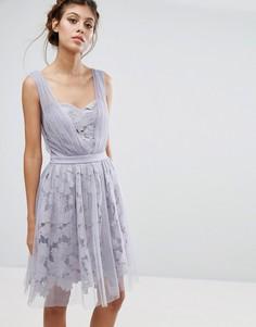 Платье из тюля и кружева с присборенными лямками Little Mistress - Фиолетовый