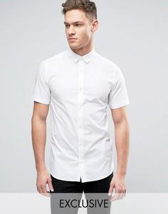 Строгая рубашка скинни с короткими рукавами Only & Sons - Белый