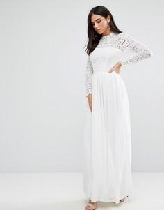 Кружевное платье макси с высокой горловиной Club L - Белый