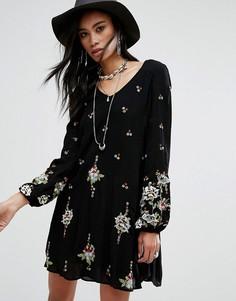 Свободное платье мини с вышивкой Free People - Мульти