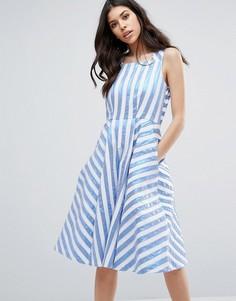 Платье миди в полоску металлик Closet London - Мульти