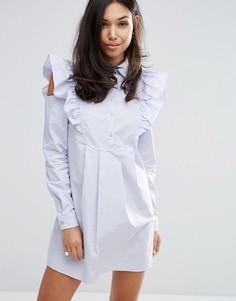 Платье-рубашка с отделкой на рукавах Fashion Union - Фиолетовый