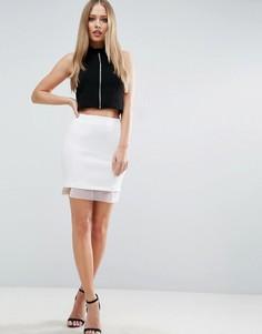Мини‑юбка с отделкой из органзы ASOS - Белый