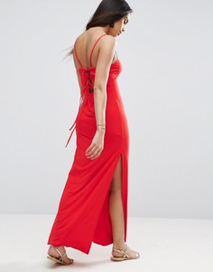 Платье макси со шнуровкой на спине ASOS - Красный