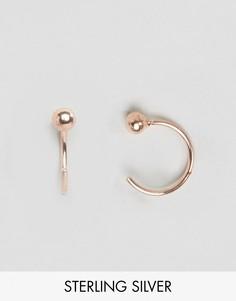 Серебряные серьги с подвесками в виде шариков и с покрытием из розового золота 10мм ASOS - Медный